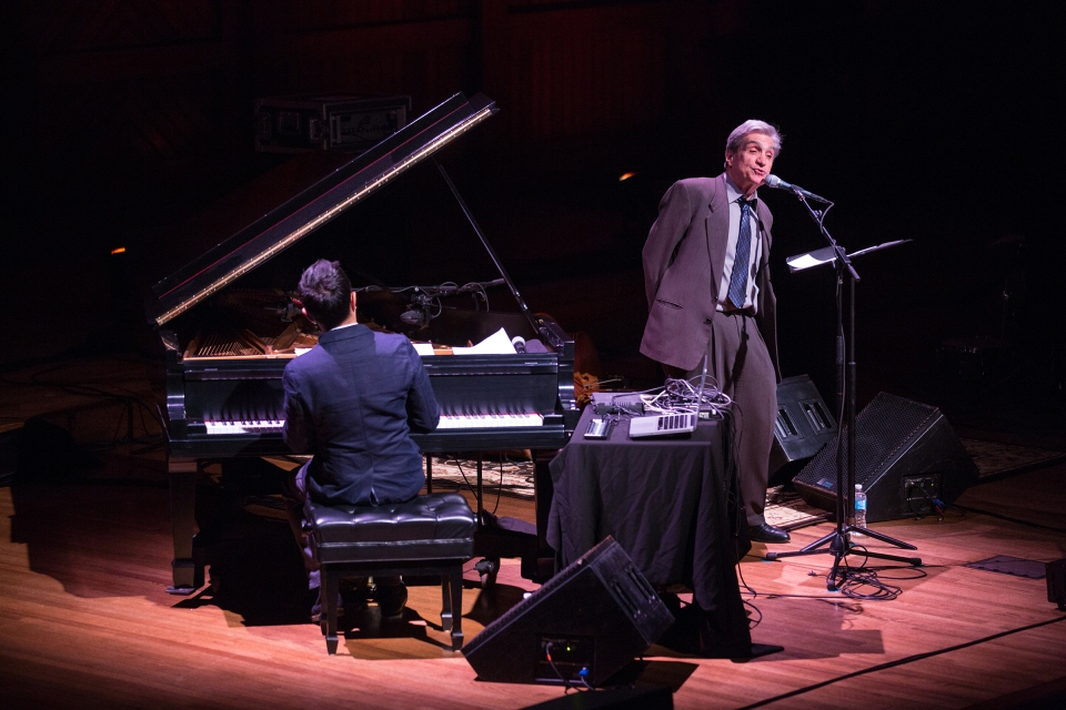 Vijay Iyer and Robert Pinsky at Sanders Theatre Friday night. Photo by Robert Torres. Courtesy of Celebrity Series of Boston.