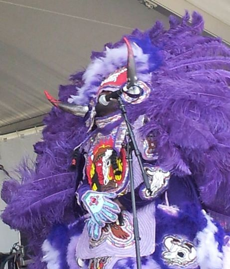 "The ""Wild Man"" of the Young Seminole Hunters, Mardi Gras Indians. JazzFest 2014. Photo by Clea Simon."
